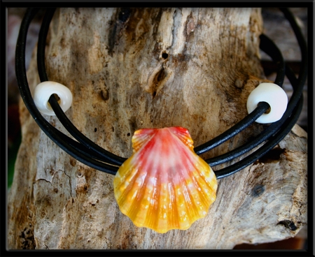 Pink Gold Sunrise Shell Naturalist Puka Bracelet Anklet Necklace