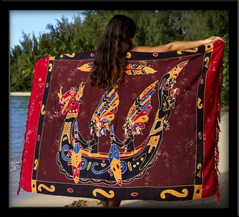 Bali Batik Canoe Paddlers Sarong with Cutouts & Embroidery