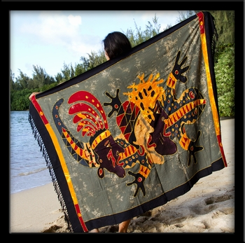 Bali Batik Gecko Men Sarong with Embroidery