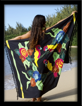 Bali Batik Parrots & Flowers Sarong with Embroidery