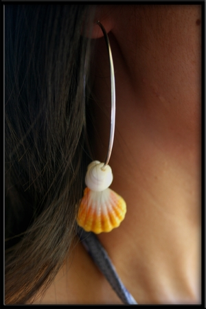 Sterling Silver Hoops Puka Shells & Sunrise Shells Earrings