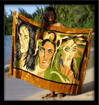 Bali Batik Goddesses Sarong with Embroidery
