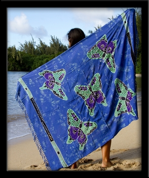 Bali Batik Butterflies Sarong with Cutouts & Embroidery