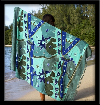 Bali Batik Seafoam Sarong with Cutouts & Embroidery