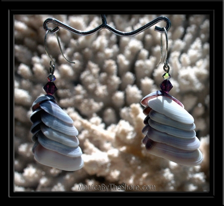 Purple Periwinkle & Swarvoski Crystal Earrings