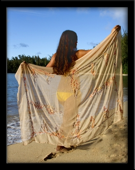 Bali Sheer Full Sarong with Rainbow Embroidery