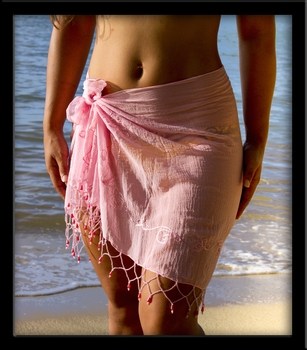 Bali Sheer Half Sarong Pink with Beads & Embroidery