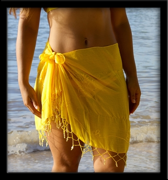 Bali Sheer Half Sarong Yellow with Beads & Embroidery