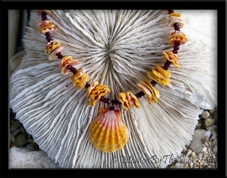 "Custom for ""Winna"" Sunrise Shell Chip Lei with Garnet Gemstones"