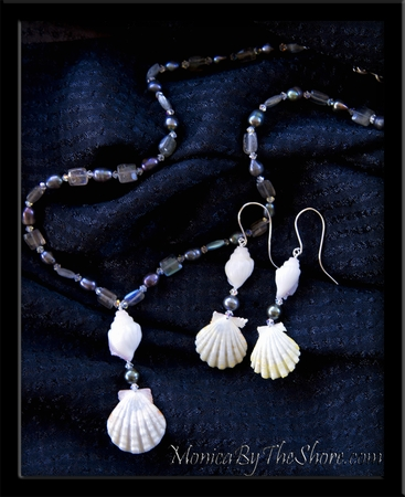 Rare White Sunrise Shells & Conch Shell Necklace & Earings Set