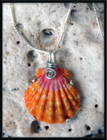 Deep Dark Pink & Orange Sunrise Shell Silver Necklace