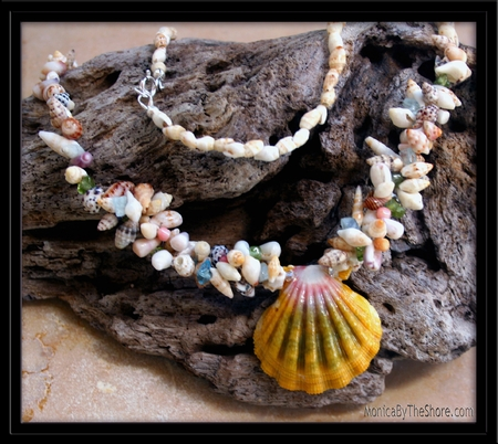 Custom Sunrise Shell, Momi, Laiki, & Seashell Lei Necklace