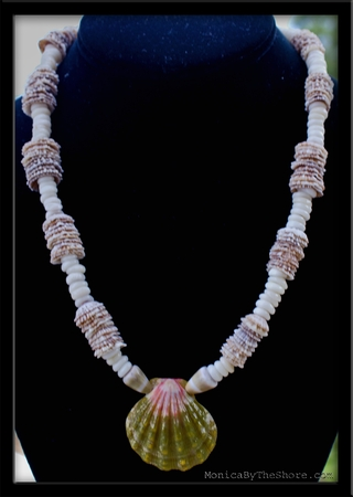 Green Sunrise Shell Opihi Shell Puka & Cone Shell Ceremonial Lei Necklace