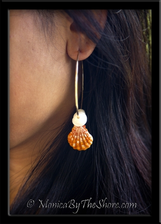 Big Gold Hoop Orange Sunrise Shell & Puka Shells Earrings