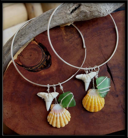 Sterling Silver Hoops with Sunrise Shells, Sharks Teeth & Green Sea Glass