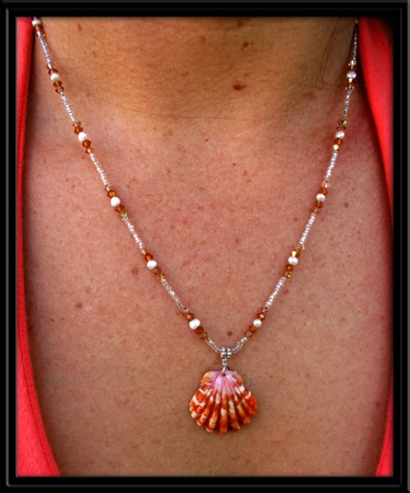 Rare Red Stripe Sunrise Shell Pearl & Crystal Necklace