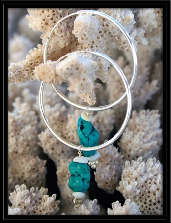 Sterling Silver Turquoise & Puka Shell Earrings