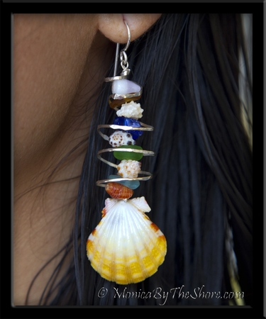 Sunrise Shells, Sea Glass & Silver Water Spout Dangle Earrings
