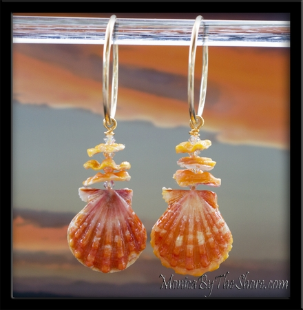 Sunrise Shell Pair Orange & Yellow Shells with Chips & Swarovski Crystals Gold Hoop Earrings