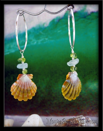 Aquamarine Peridot & Rainbow Sunrise Shell Silver Hoops Earrings