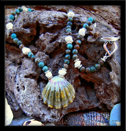 "Green Hawaiian Sunrise ""Moonrise"" Shell & Ocean Jasper & Puka Shell Necklace"