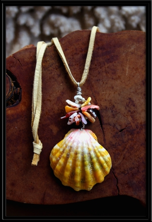 Large Yellow Green Pink Sunrise Shell & Spiral Chips Necklace