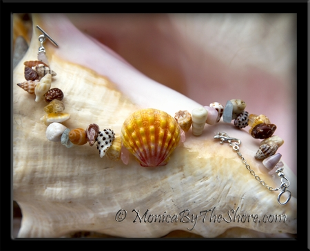 """Beach Candy"" Hawaiian Sunrise Shell Seashells & Gemstones Bracelet"