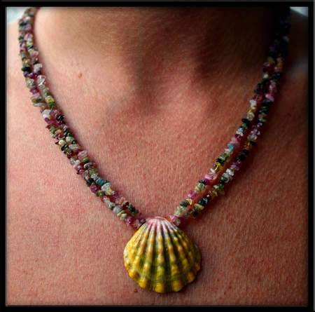 Sunrise Shell and Double Tourmaline Necklace