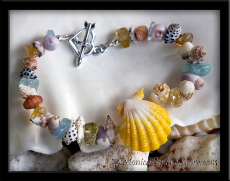 """Beach Candy"" Sunrise Shell Seashell & Gem Stone Bracelet"