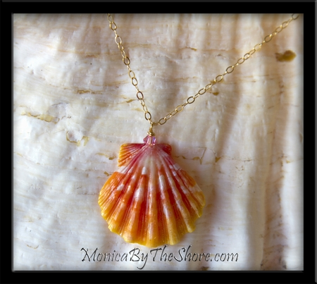 Pink Tangerine Hawaiian Sunrise Shell & Crystal Gold Chain Necklace