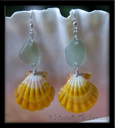 Big Bold Bright Yellow & White Sunrise Shells & Aqua Sea Glass Earrings