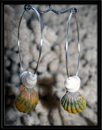 Big Hoop Green Sunrise Shell Earrings