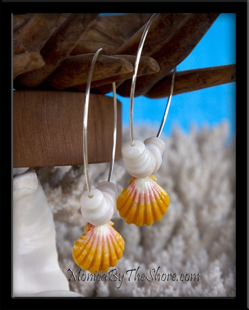 Big Hoop Hawaiian Sunrise & Puka Shells Earrings