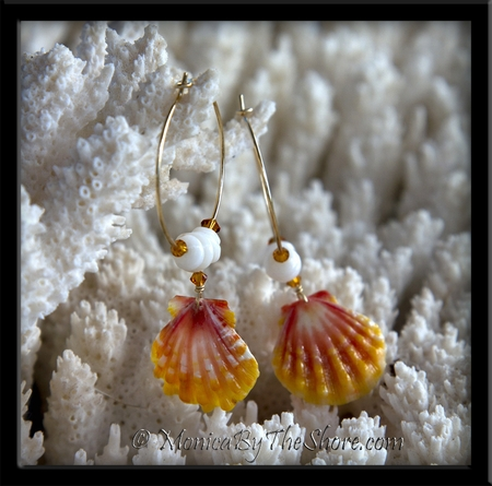 Small Gold Hoop Sunrise Shell & Puka Shells with Swarovski Crystals Earrings