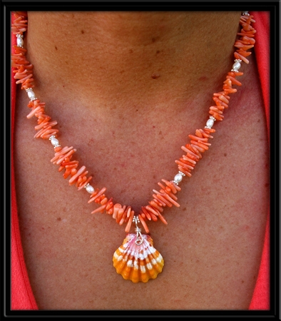 Peach Branch Coral , Pearls & Hawaiian Sunrise Shell Necklace