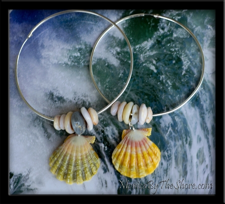 Big Silver Hoop Multi Color Sunrise Shell & Puka Shell Earrings