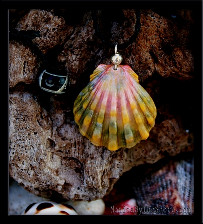Green Pink & Gold Calico Hawaiian Sunrise Shell Cord Necklace