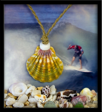 Giant Rainbow Hawaiian Sunrise Shell Cord Necklace