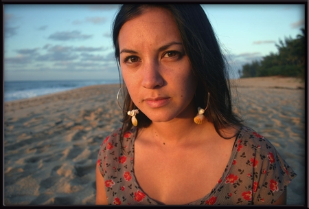 Misa & her Silver Hoops with Sunrise and Puka Shells