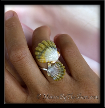 Double Green Sunrise Shells Silver Wrap Around Ring