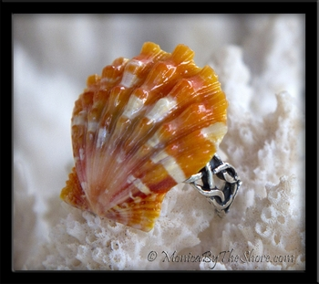 Orange Speckles Hawaiian Sunrise Shell Adjustable Pinky Ring