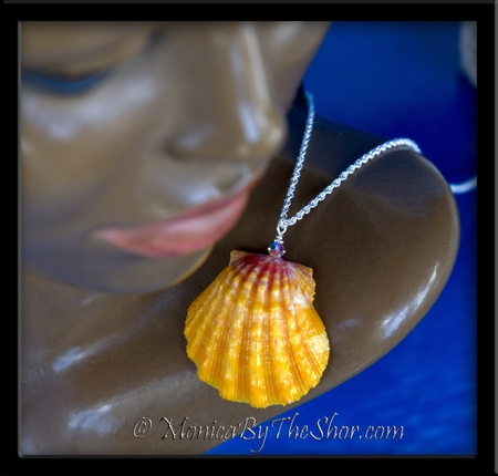 Perfect Hawaiian Sunrise Shell & Swarovski Crystal Silver Rope Chain Necklace