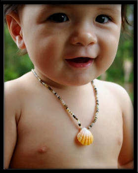 Yellow Sunrise Shell Baby Necklace on Heishi Shell Keiki Jewelry