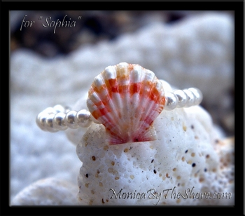 "Custom for Infant Baby Girl ""Sophia"" Hawaiian Sunrise Shell & Swarovski Pearl Bracelet"