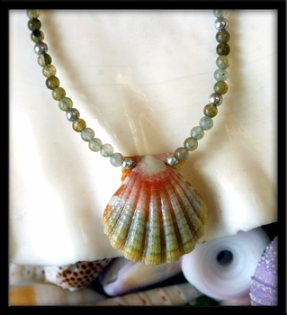 Baby Starburst Green Pink Sunrise Shell Green Ocean Jasper Keiki Necklace