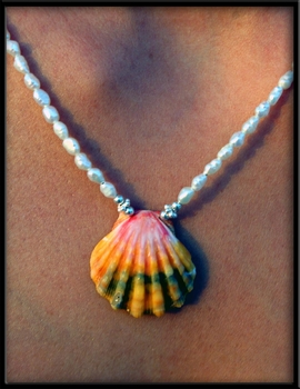 Calico Sunrise Shell & Pearl Necklace