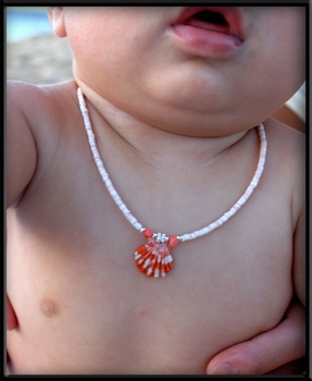 Infant Orange Sunrise Shell on Shell Beaded Necklace