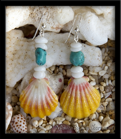 Hawaiian Sunrise Shells & Turquoise with Puka Shells Earrings