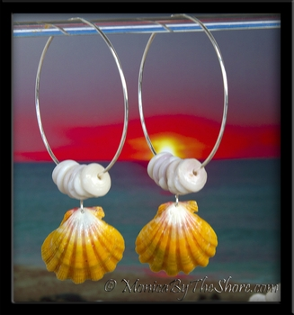 Giant Yellow Hawaiian Sunrise Shell & Puka Shells Big Hoop Silver Earrings