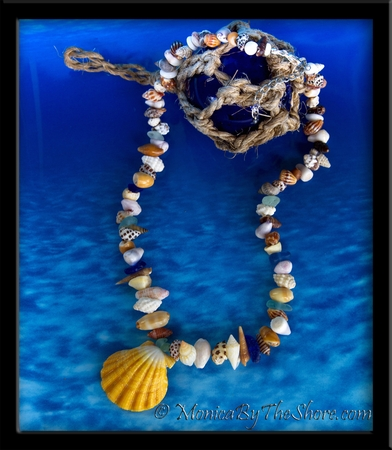 Beach Candy Sunrise Shell, Aqua & Blue Sea Glass & Seashells Lei Necklace